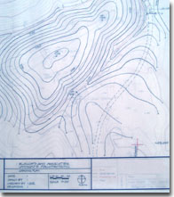 This is a photograph of a grading plan for a surface mine reclamation done by Ellsworth and Associates, landscape architects.